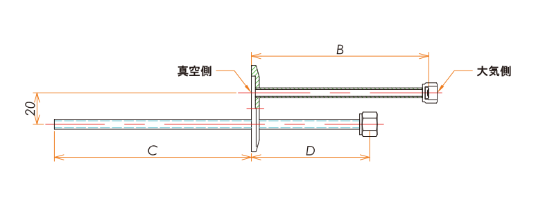 NW50+1/4 バブリング めすVCR®アダプタ 寸法画像