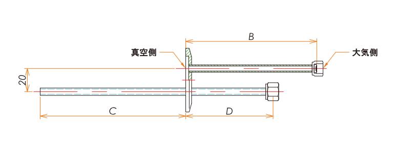 NW40+1/4 バブリング めすVCR®アダプタ 寸法画像