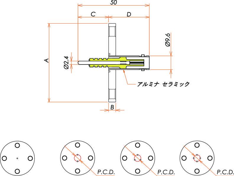 同軸 5kV-BNC-R 3個付き VF40 フランジ 寸法画像