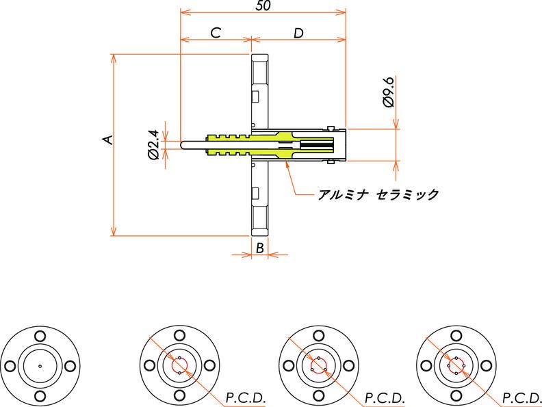 同軸 5kV-BNC-R 4個付き VG40 フランジ 寸法画像