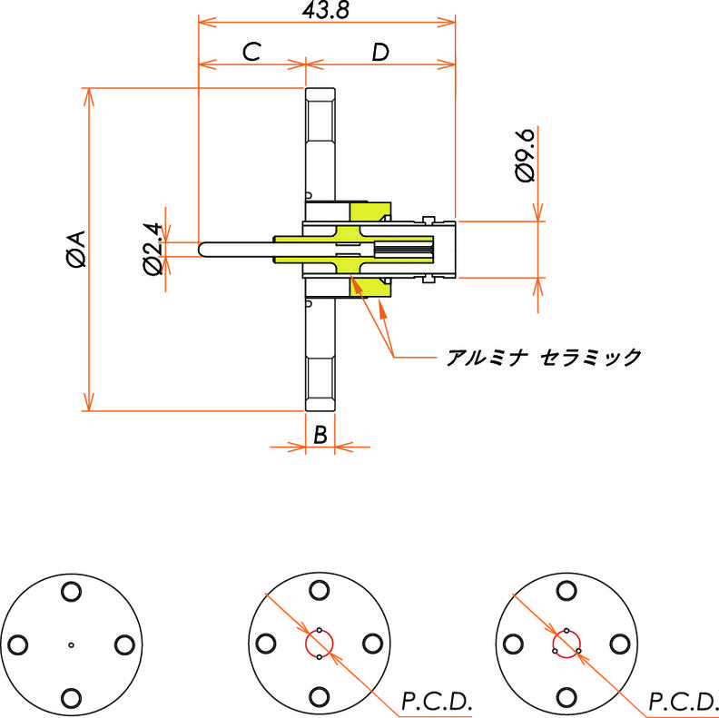 同軸 BNC-R-F 3個付き VF40 フランジ 寸法画像