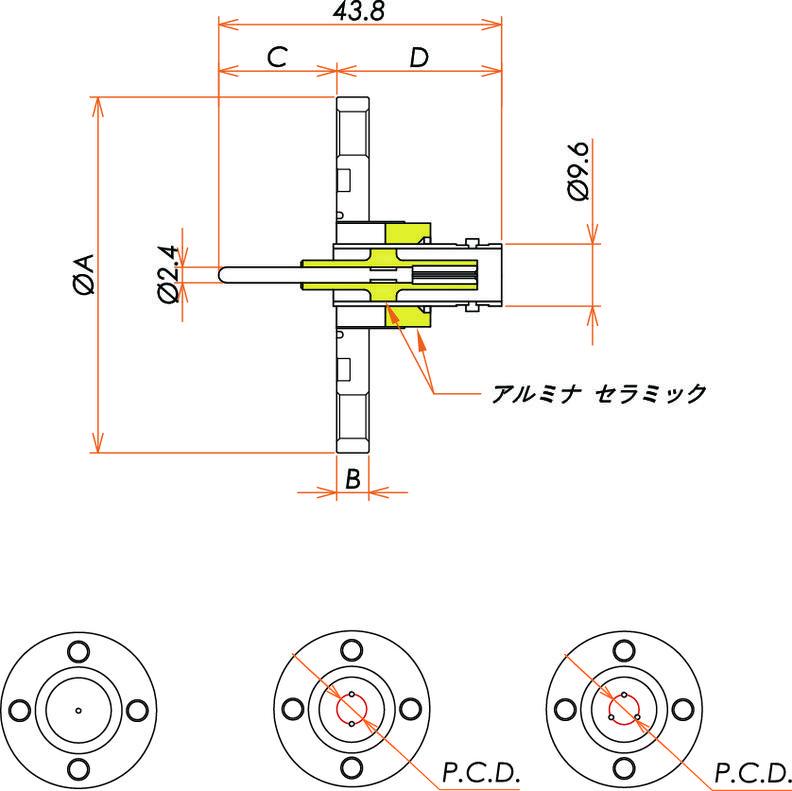 同軸 BNC-R-F 3個付き VG40 フランジ 寸法画像