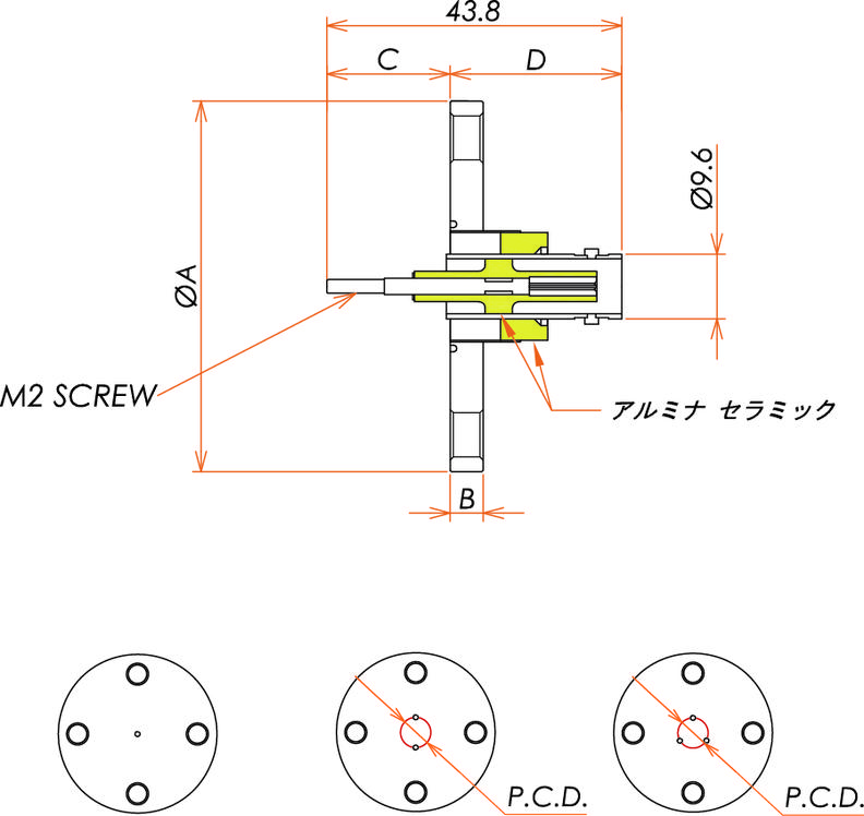 同軸 BNC-R-F-M2 1個付き VF25 フランジ 寸法画像