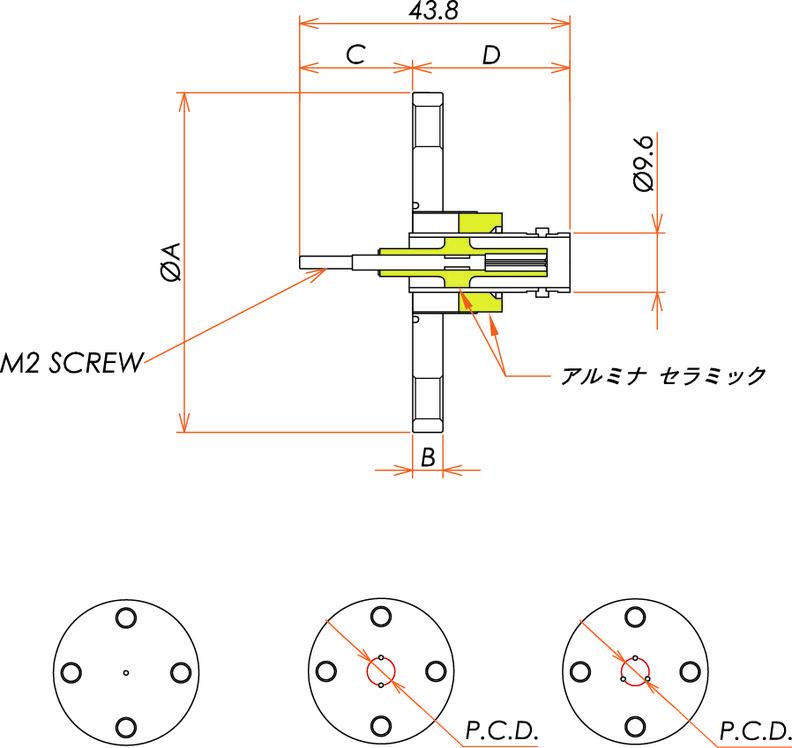 同軸 BNC-R-M2-SCREW 3個付き VF40 フランジ 寸法画像