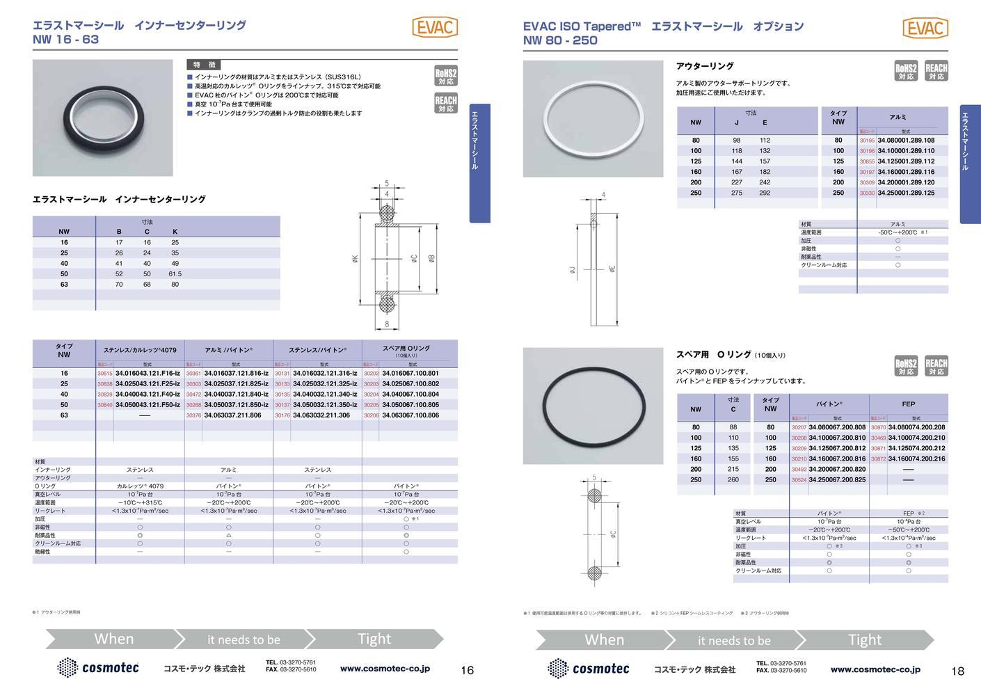 NW/KF Oリング バイトン® EVAC社製 カタログ画像
