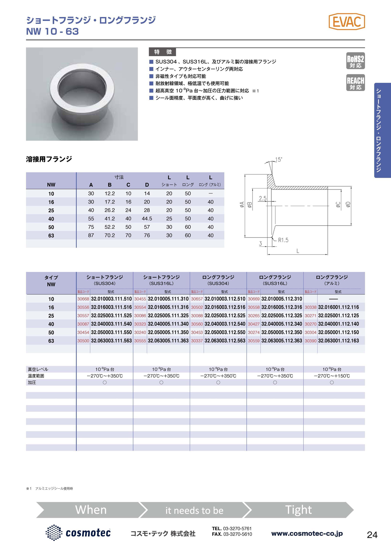 NW/KF ショートフランジ SUS316L EVAC社製 カタログ画像