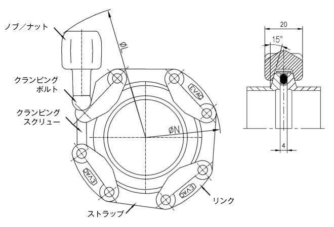 30.050012.132.950 Chain Clamp NW50 高温(トルク防止) 寸法画像