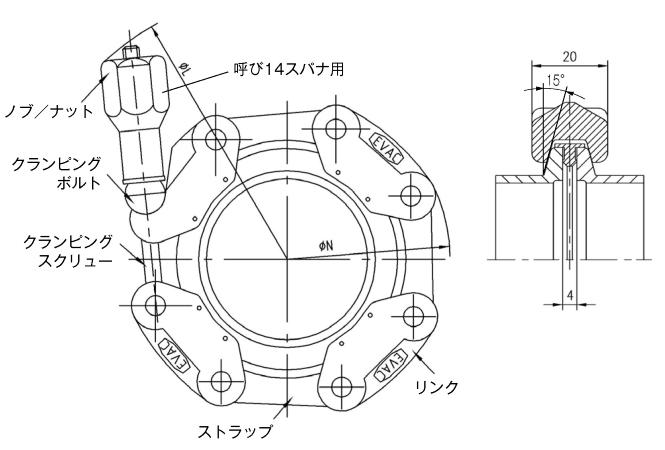30.050019.159.550 Chain Clamp NW50 鍛造アルミ 寸法画像