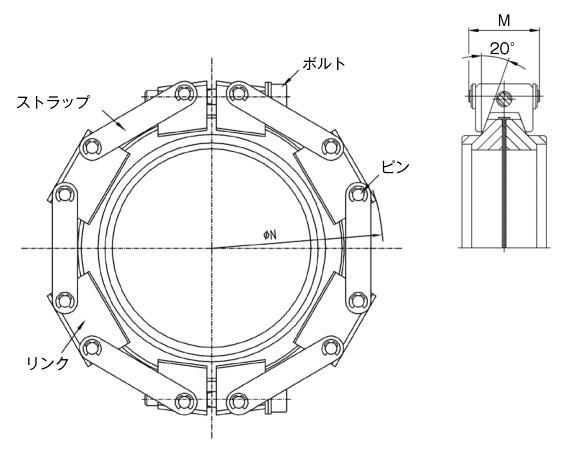 30.160015.211.516 Chain Clamp NW160 鍛造アルミ(ボルト) 寸法画像