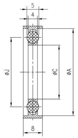 34.050032.121.350 Seal NW50 SUS316L/バイトン®/SUS316L 寸法画像