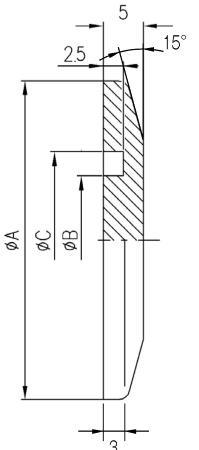 32.025001.120.125 Blank Flange NW25 アルミ 寸法画像