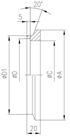 32.200003.210.320 Short Flange NW200 SUS304 寸法画像