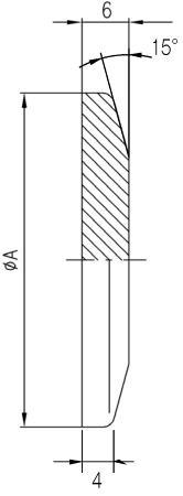 32.040008.125.840 Blank Flange NW40 溶融石英 光学用 寸法画像
