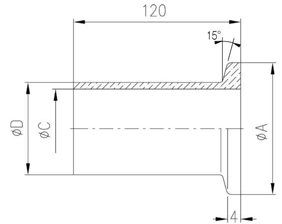 32.016007.113.716 Long Flange NW16 Duran L=120 寸法画像