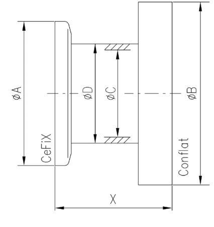 33.050003.68A.305/05 Nipple NW50/ICF86 316L/304 寸法画像