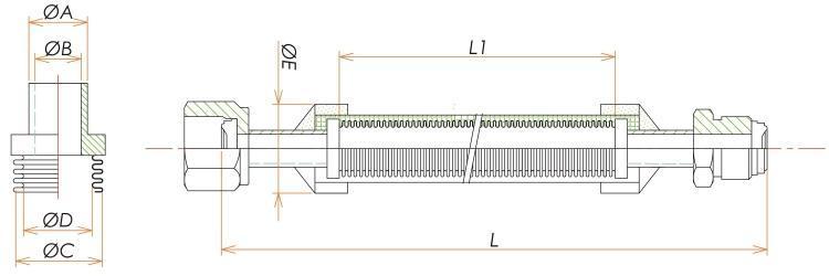 めすVCR®・おすVCR®1/4ブレード付フレキシブルチューブ L=2500 寸法画像