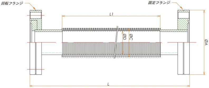 ICF70フレキシブルチューブ 片側回転 L=2500 寸法画像
