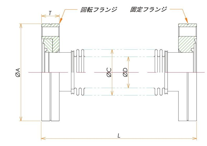 ICF34 成形ベローズ片側回転 L=70 寸法画像