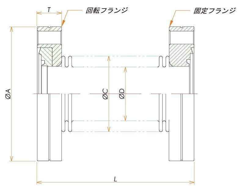 ICF70 成形ベローズ片側回転 L=82 寸法画像