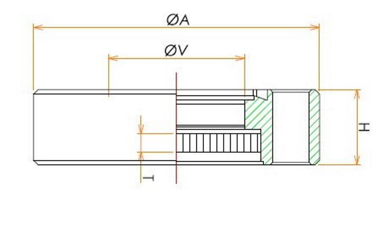 ICF253 溶融石英ビューポート DUVグレード 寸法画像