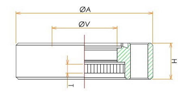 ICF34 溶融石英ビューポート EUVグレード(エキシマ対応) SUS316LN 寸法画像