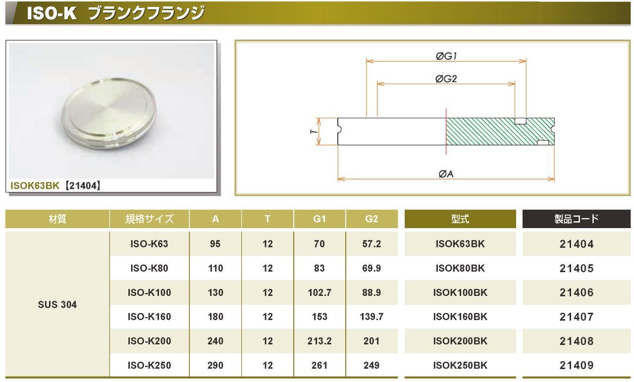 ISO®K ブランクフランジ SUS カタログ画像