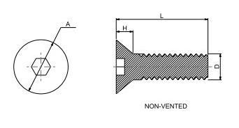 六角穴付き低頭ボルト,空気穴なし,SUS 18-8,#6-32,L=9.525,タングステンコート 寸法画像