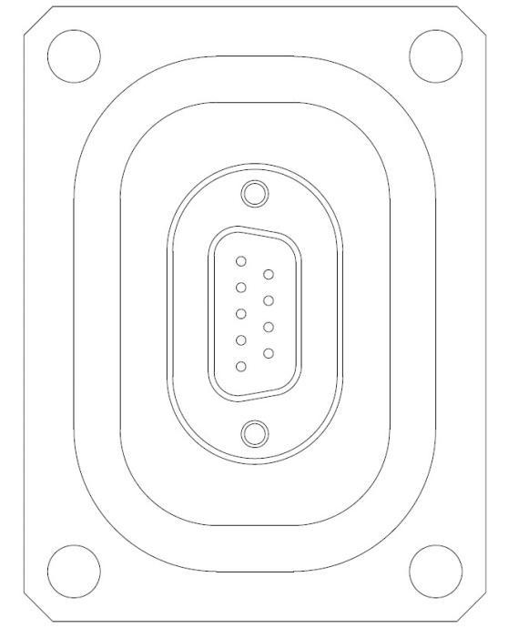 多ピン D-Sub 9 PIN 64X48 パネルマウント 寸法画像