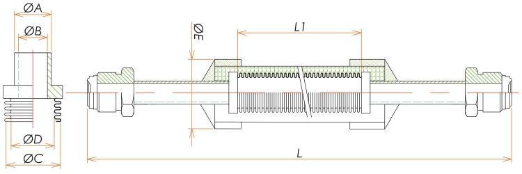 おすVCR®1/4ブレード付フレキシブルチューブ L=1500 寸法画像