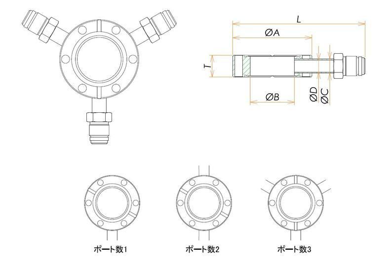 ICF70 ラジアルポートフランジ おすVCR1/4X2 寸法画像
