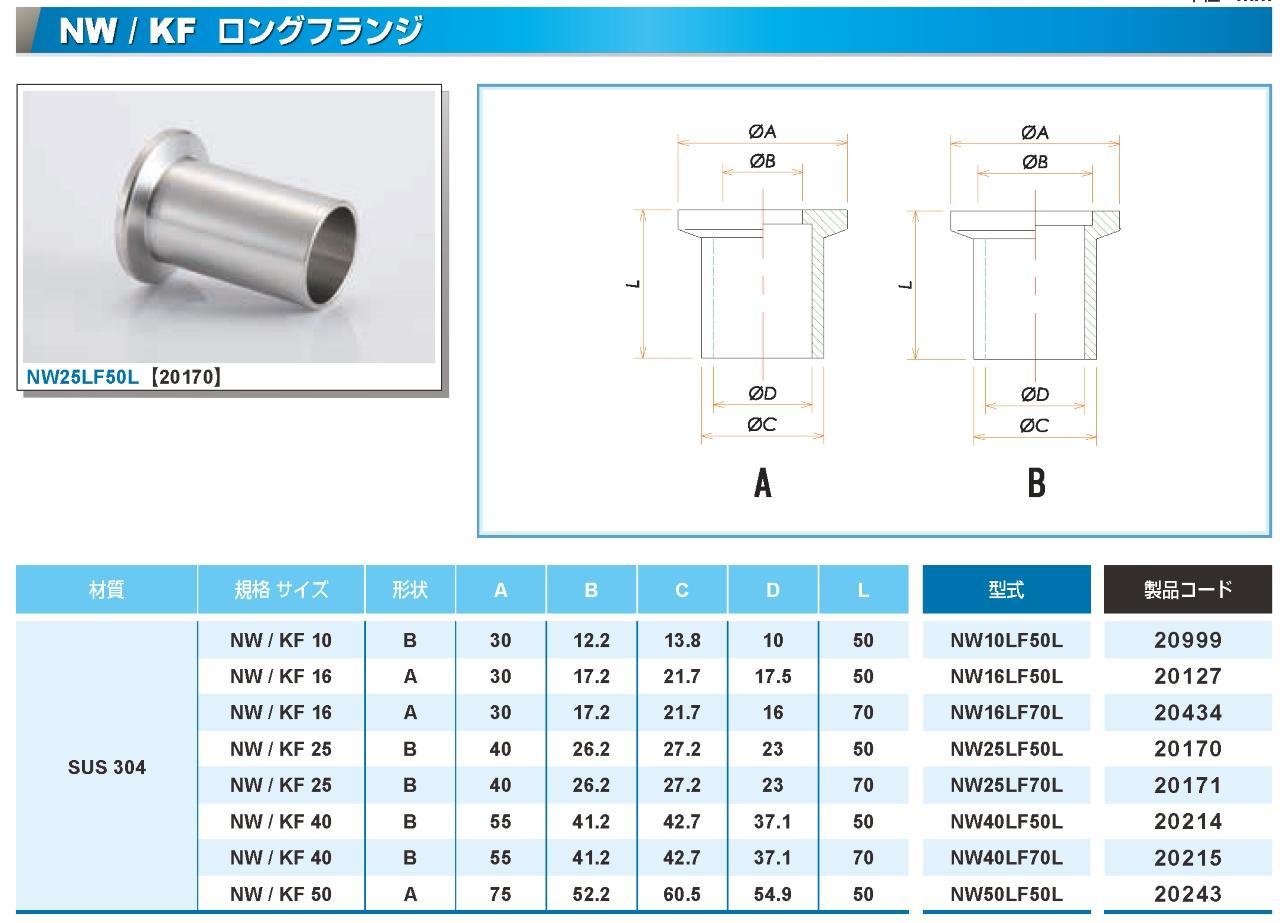 NW/KF ロングフランジ SUS304 コスモ・テック製 カタログ画像