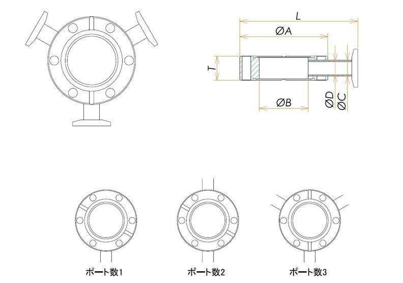 ICF70 ラジアルポートフランジ NW16X1 寸法画像