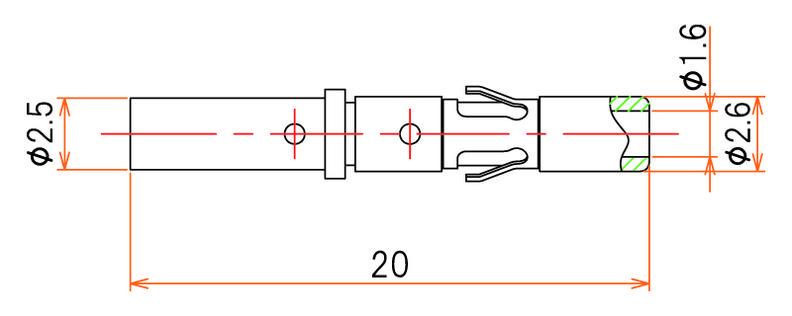 接続部品 真空側 ソケットコンタクト φ1.6 用 圧着タイプ(AWG#14) 10本入 寸法画像