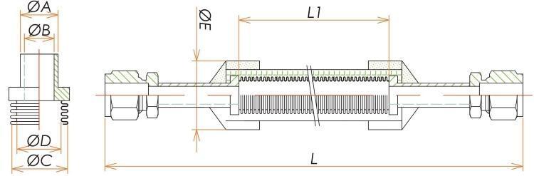 Swagelok®3/8ブレード付フレキシブルチューブ L=2500 寸法画像