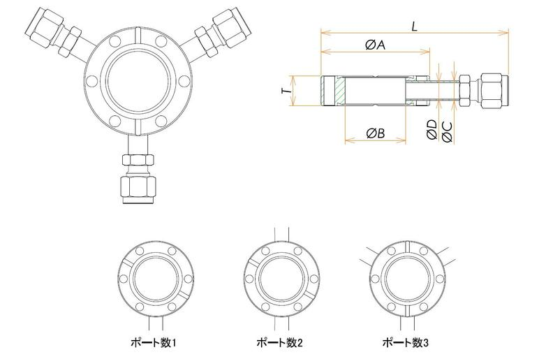 ICF70 ラジアルポートフランジ Swagelok1/4X2 寸法画像