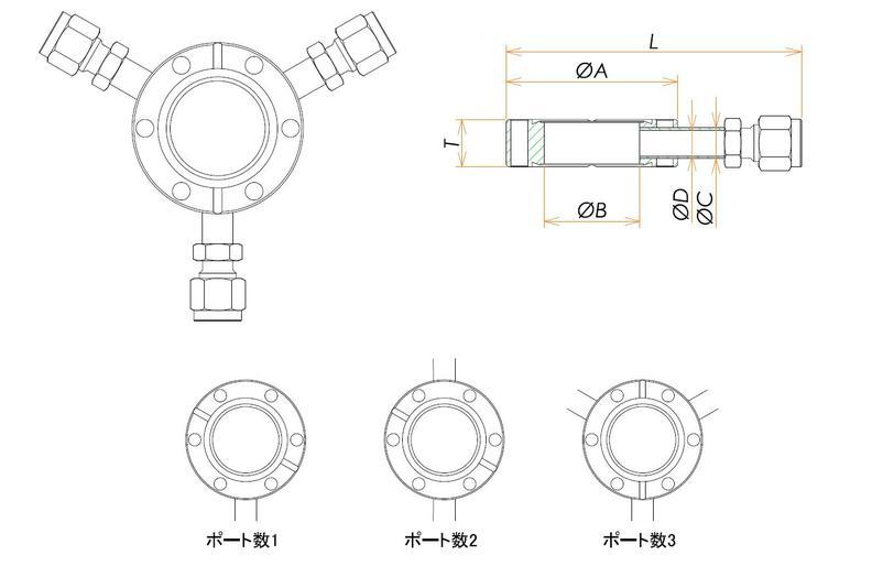 ICF70 ラジアルポートフランジ Swagelok1/4X3 寸法画像