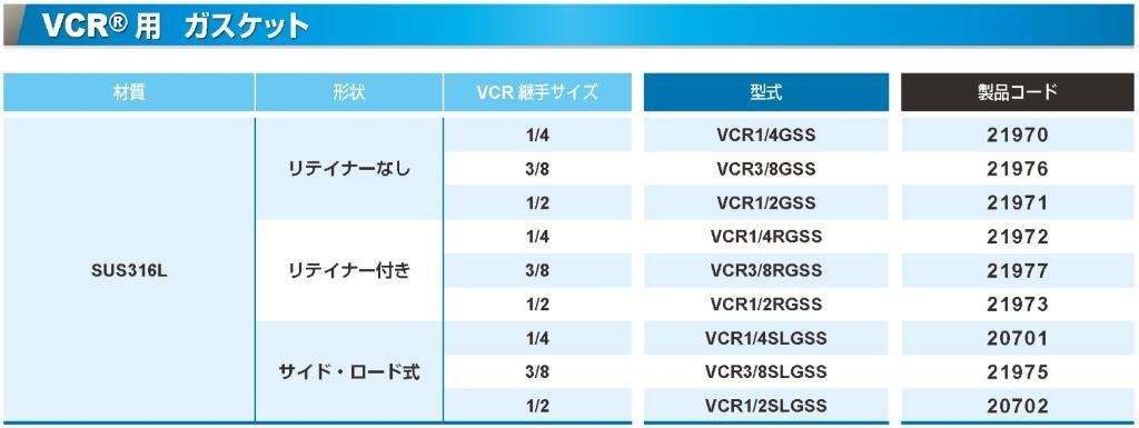 VCR®用1/2ガスケット(リテイナーなし)SUS カタログ画像