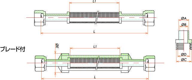 めすVCR®1/8 フレキシブルチューブ L=500 寸法画像