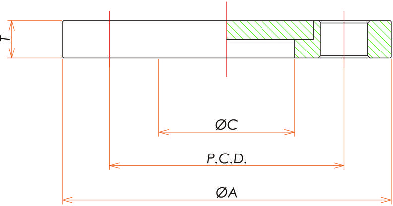 VF100 回転ブランクフランジ 寸法画像