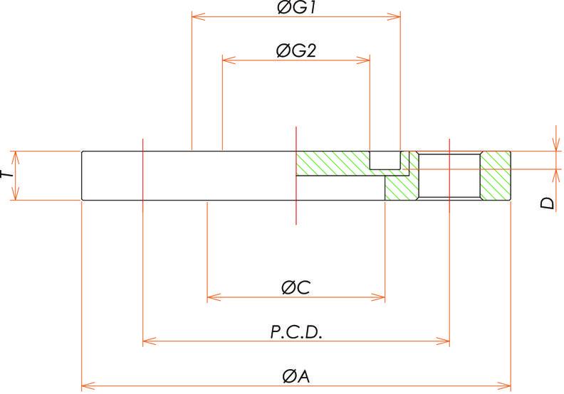 VG100 回転ブランクフランジ 寸法画像