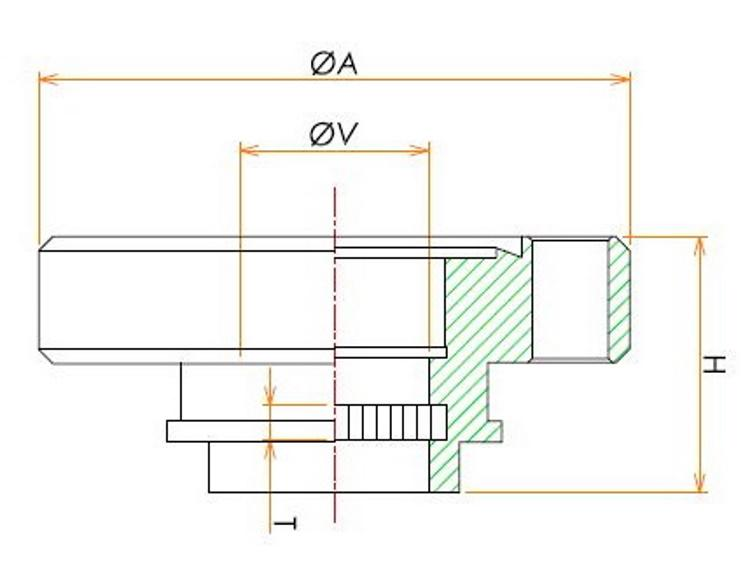 ICF34 弗化マグネシウムビューポート 寸法画像