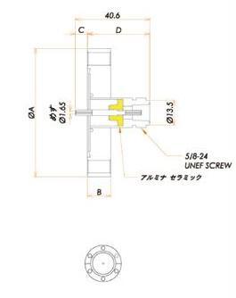 同軸 N-R 1個付き ICF70 フランジ 寸法画像