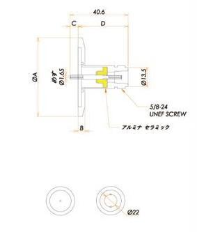 同軸 N-R 1個付き NW/KF25 フランジ 寸法画像