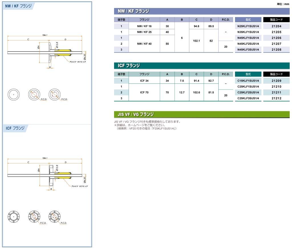 フィードスルー 水冷端子 耐電圧:5kV SUS カタログ画像