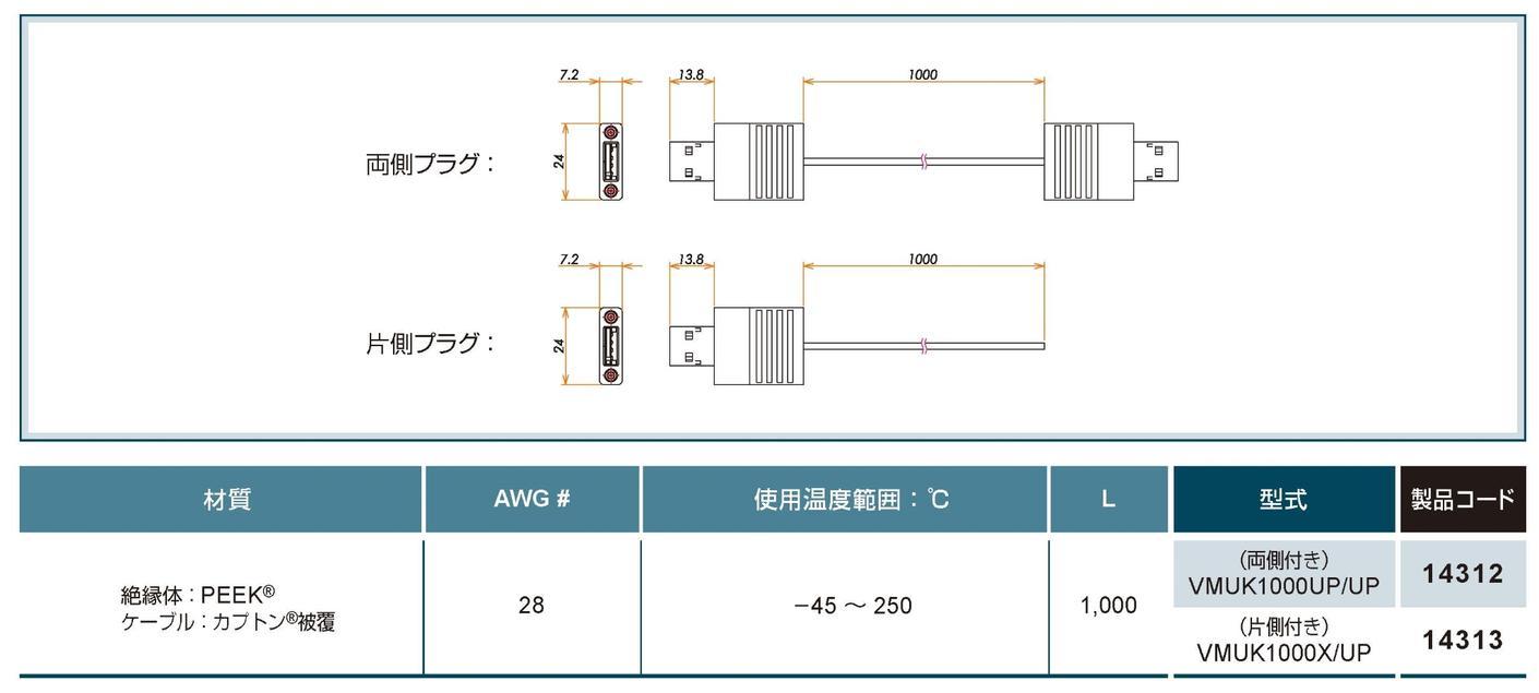 接続部品 USB用 真空側プラグ付きケーブル カタログ画像